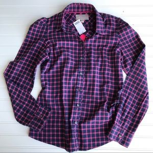 NWT Banana Republic Soft Button Down, Pink & Navy